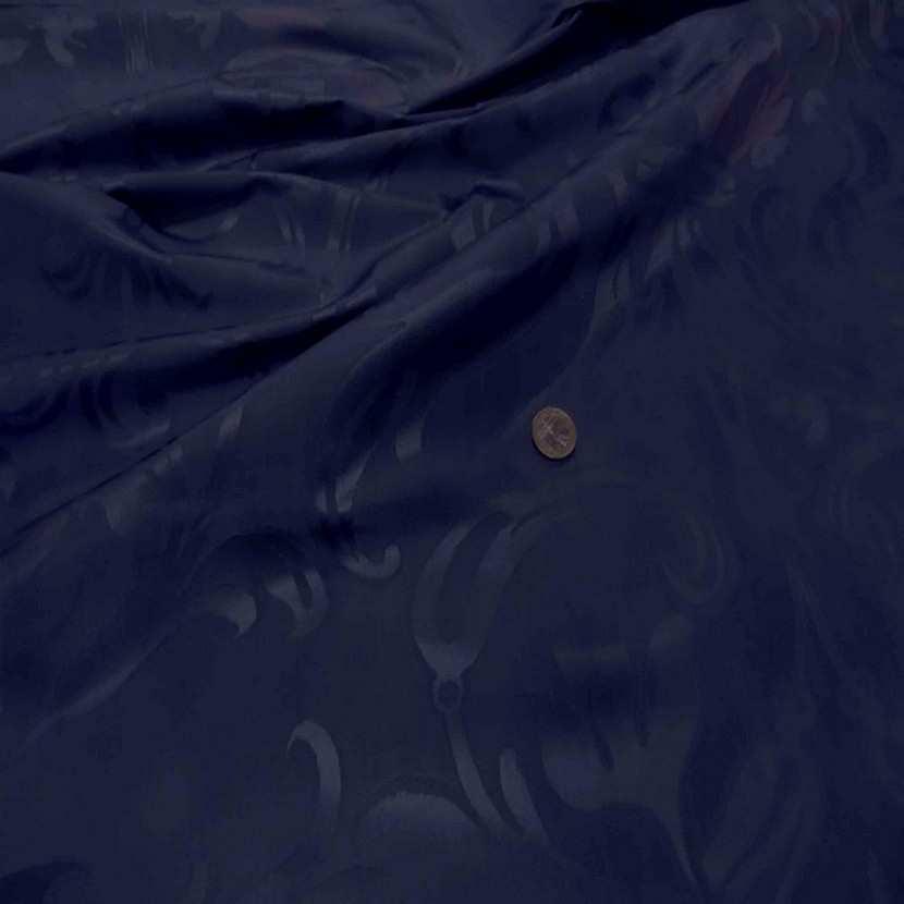 Tissu satin d ameublement faconne ton bleu1