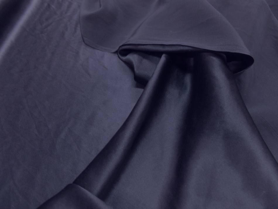 Tissu satin de soie bleu nuit en 1 37 m de large