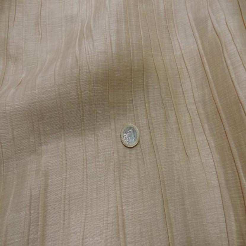 Tissu soie melange plisse ton beige0