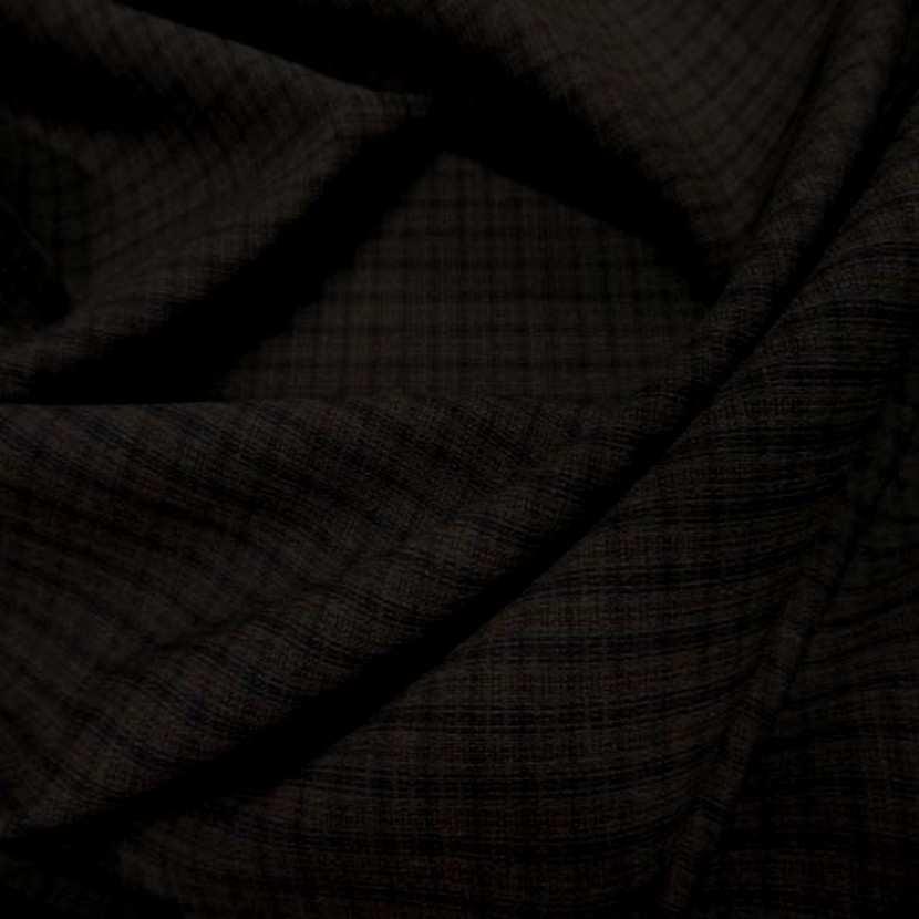 Tissu tergal bi stretch marron a carreaux