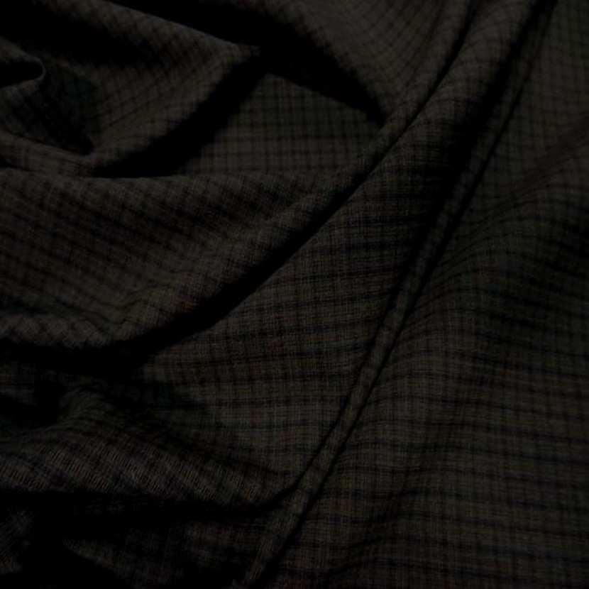 Tissu tergal bi stretch marron a carreaux2