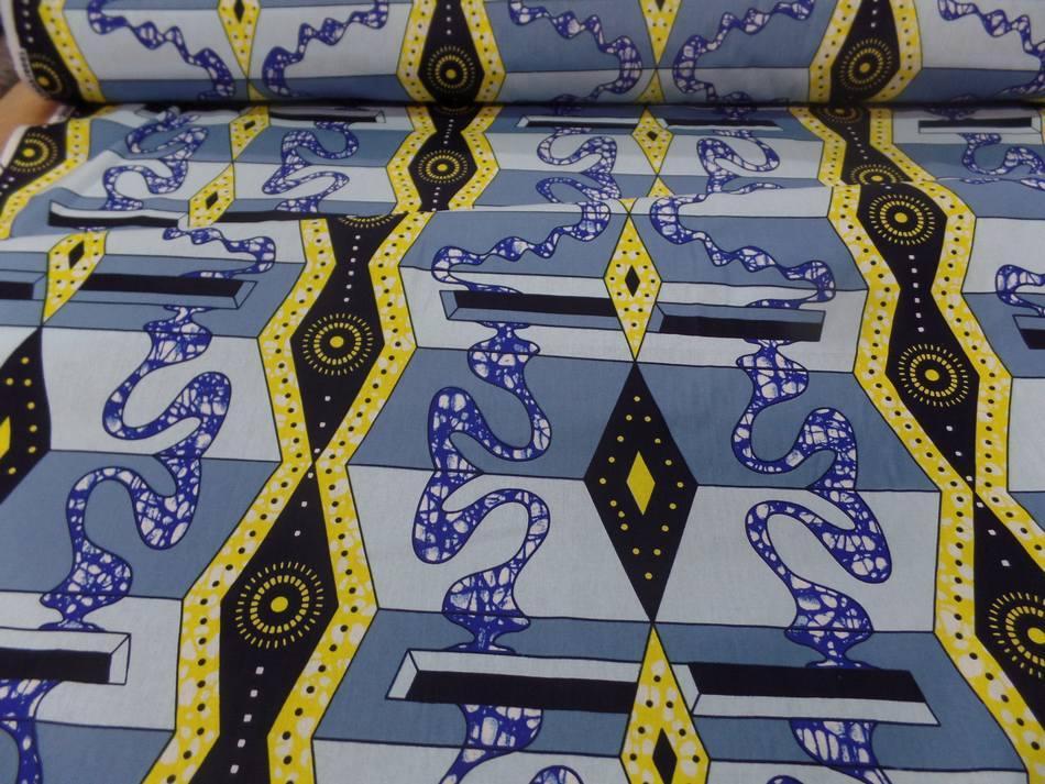 Tissu wax imprime bleu jaune noir