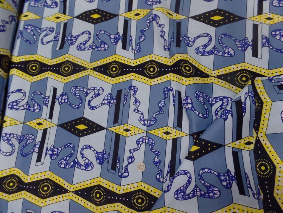 vente de Tissu wax imprimé bleu ,jaune ,noir