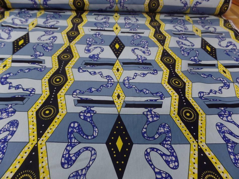 vente de Tissu wax imprimé bleu ,jaune ,noir sur Marseille