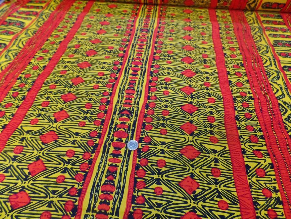 vente de tissu africain wax imprimé ton jaune ,noir et orange