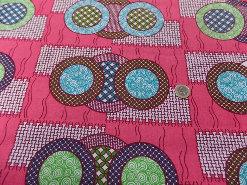 vente de tissu wax rose a motifs rond ton blanc ,bleu ,vert ,bordeaux en ligne