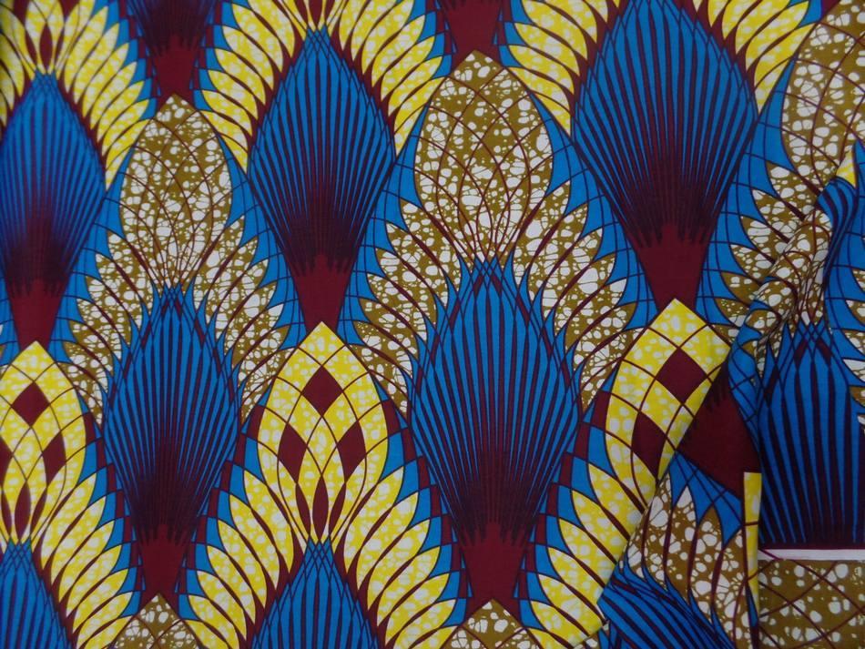 Tissus wax imprime ton bleu jaune bordeaux