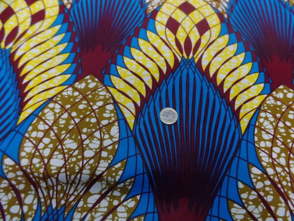 vente de Tissu wax imprimé ton bleu jaune bordeaux