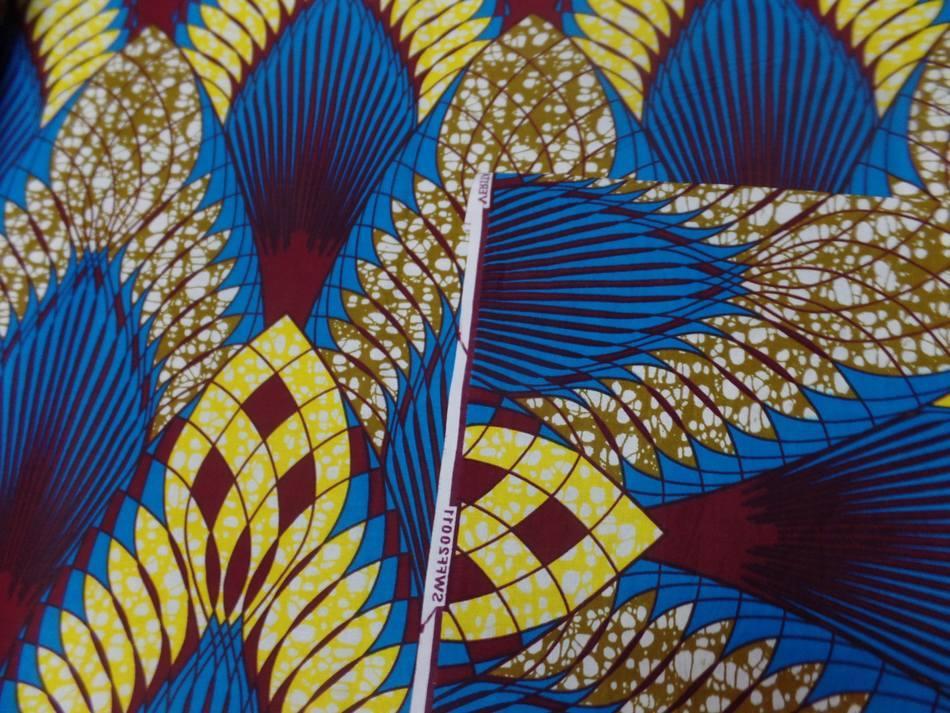 vente de Tissu Africain wax imprimé ton bleu jaune bordeaux