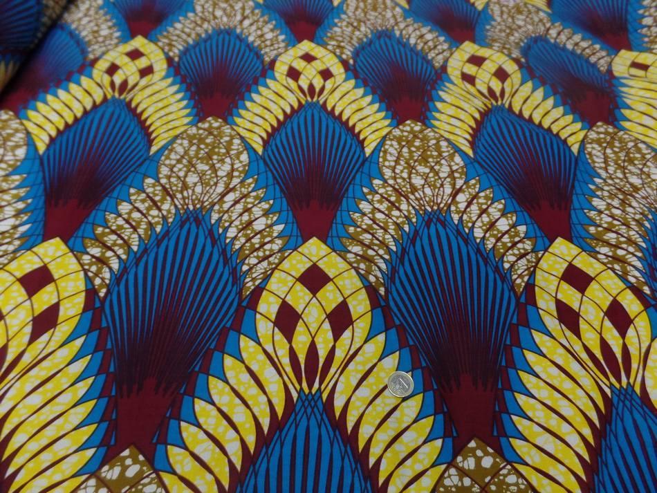 vente de Tissu wax imprimé ton bleu jaune bordeaux en ligne