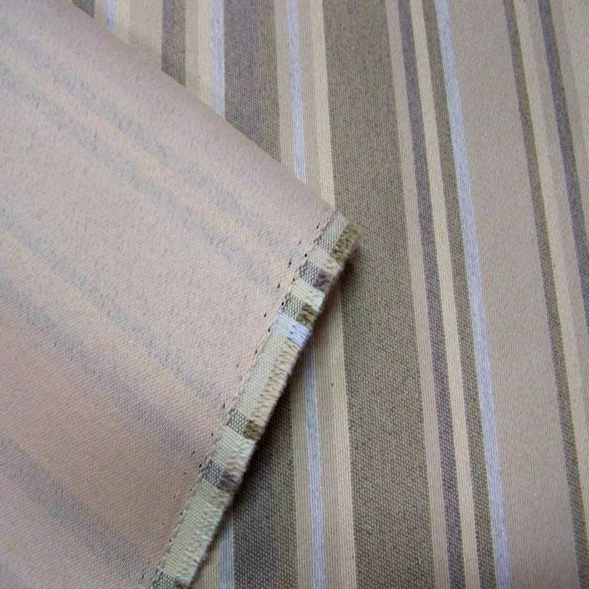 Toile beige d ameublement a rayures grise1