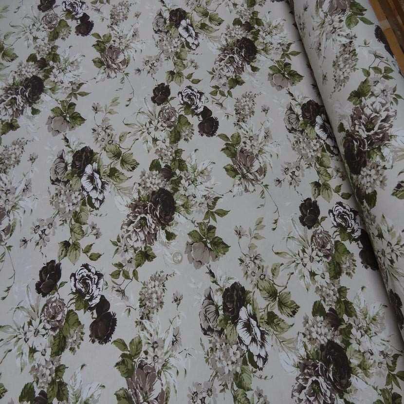 Toile coton blanc casse imprime fleurs ton marron vert
