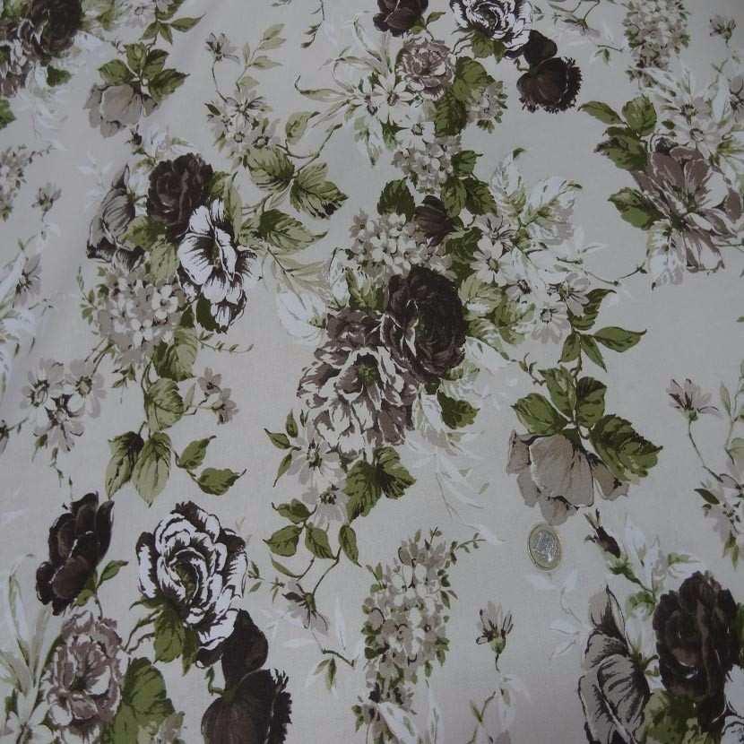 Toile coton blanc casse imprime fleurs ton marron vert0
