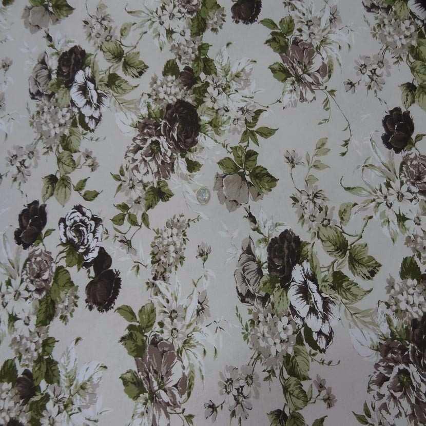 Toile coton blanc casse imprime fleurs ton marron vert3