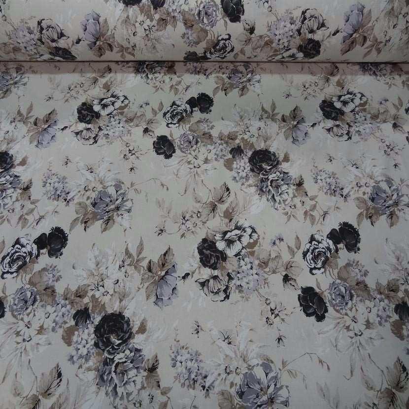 Toile coton blanc casse imprime fleurs ton taupe noir gris en 2 80m de large