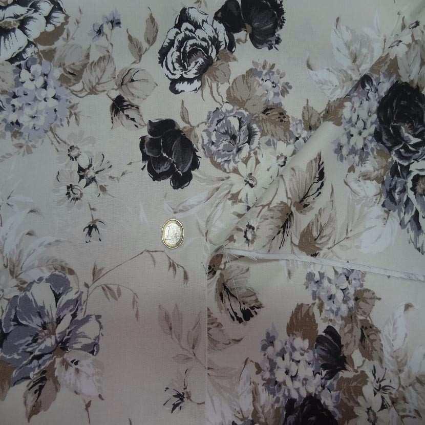 Toile coton blanc casse imprime fleurs ton taupe noir gris en 2 80m de large1