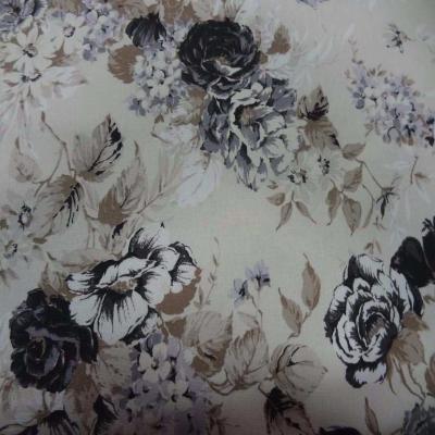 Toile coton blanc casse imprime fleurs ton taupe noir gris en 2 80m de large5