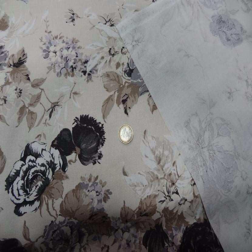 Toile coton blanc casse imprime fleurs ton taupe noir gris1