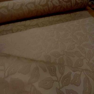 Toile coton d ameublement beige faconne fleurs
