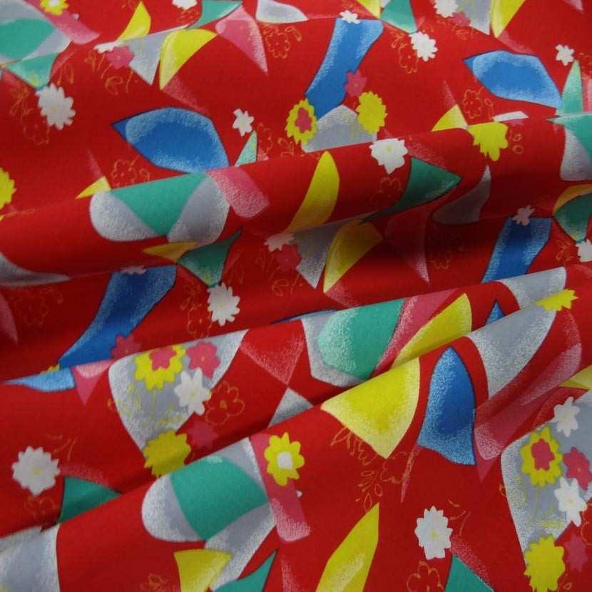Toile coton fine rouge imprime jaune bleu vert gris6