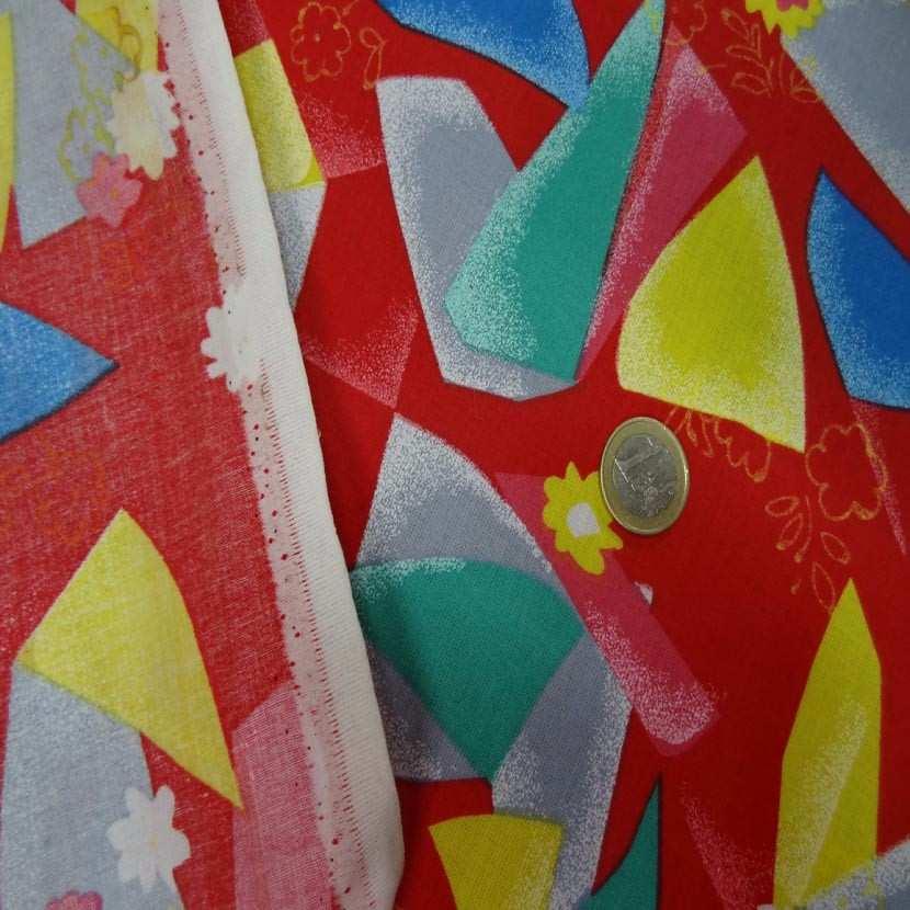 Toile coton fine rouge imprime jaune bleu vert gris8