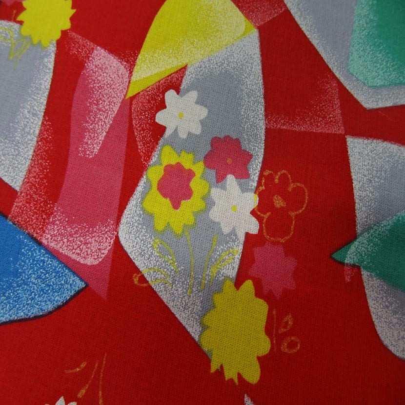 Toile coton fine rouge imprime jaune bleu vert gris9