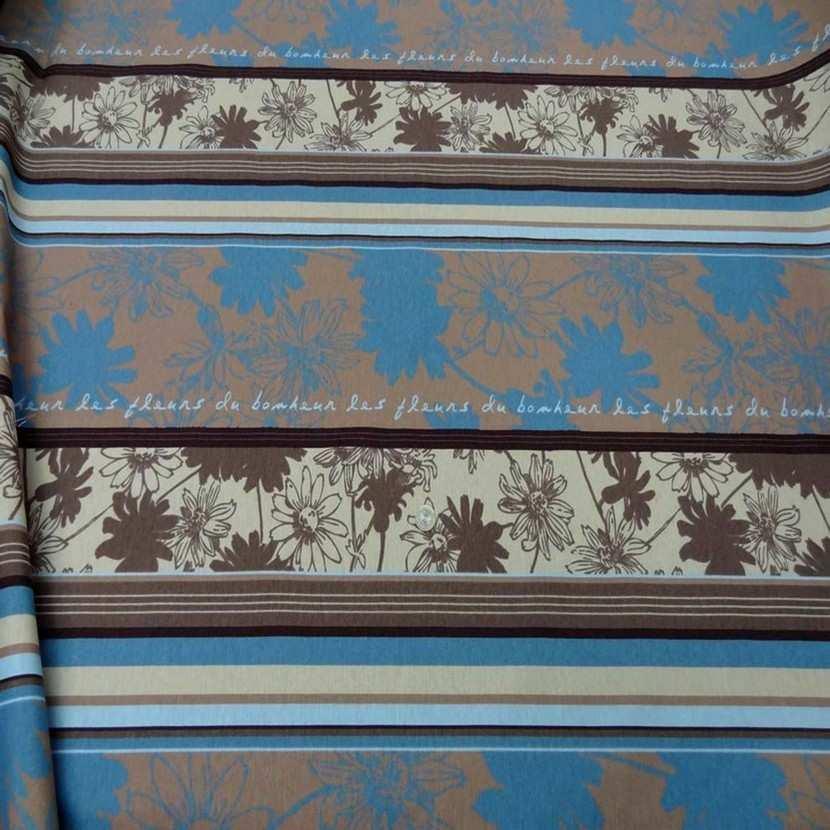Toile coton imprime a motifs beige marron bleu