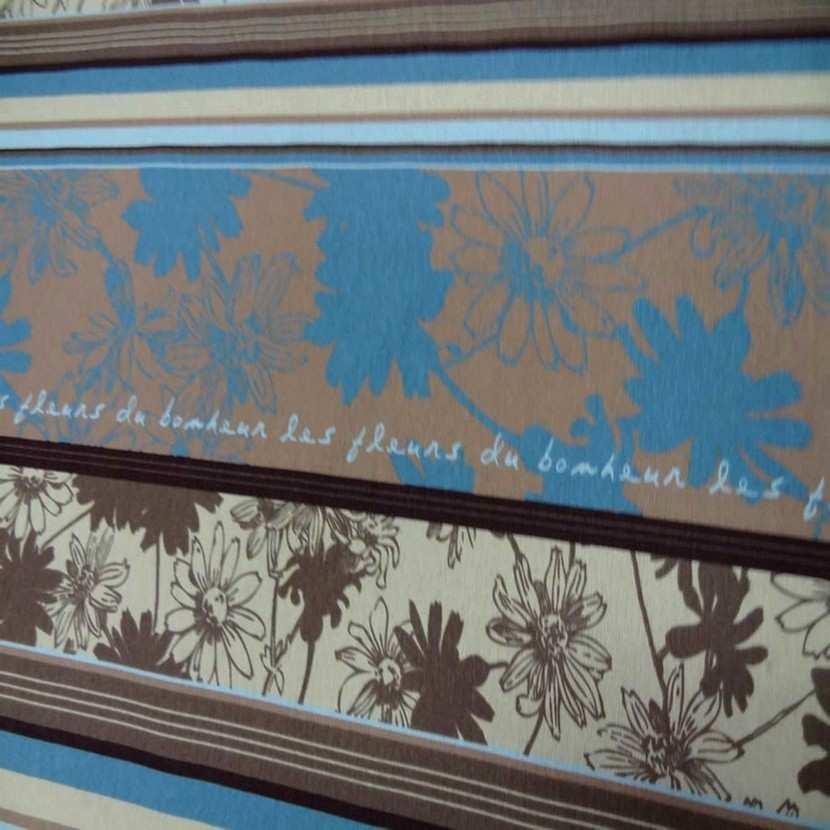 Toile coton imprime a motifs beige marron bleu0