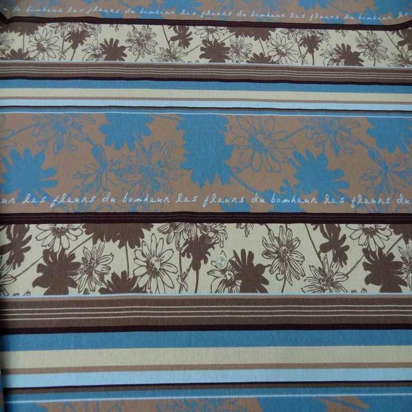 Toile coton imprime a motifs beige marron bleu9