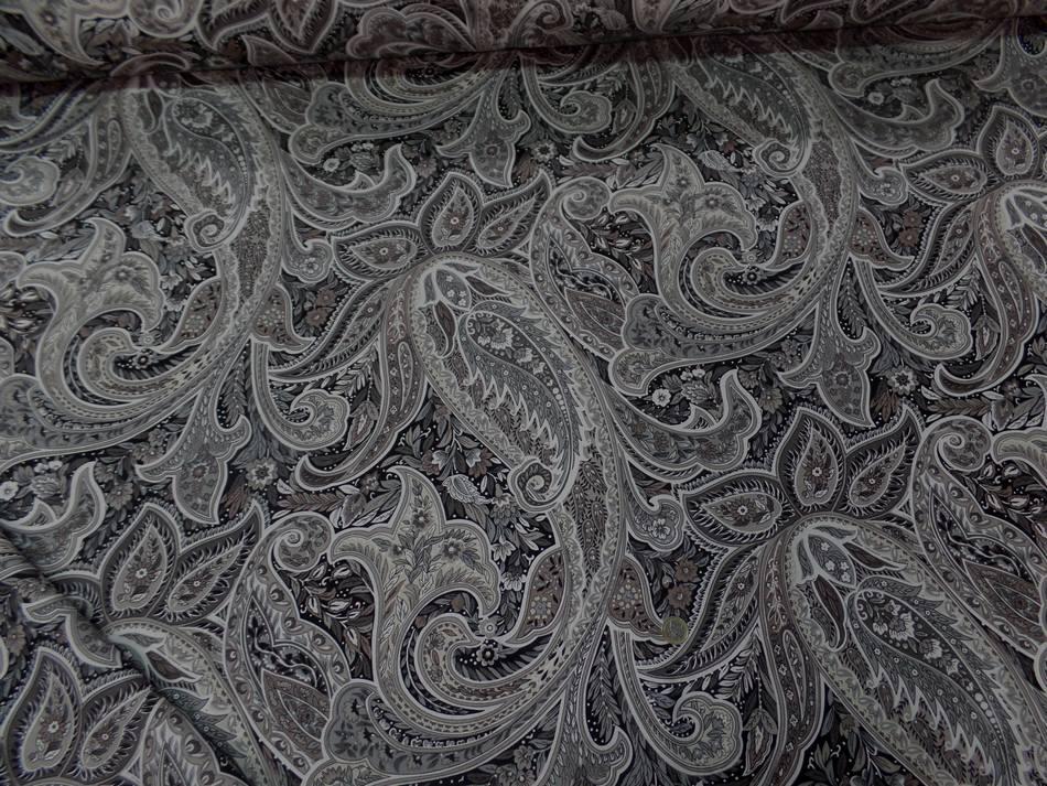 Toile coton imprime motifs cash mir ton beige taupe et gris en 2 80m l7