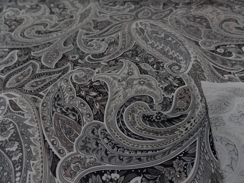 Toile coton imprime motifs cash mir ton beige taupe et gris en 2 80m l9