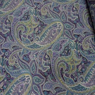 Toile coton imprime motifs cash mir ton mauve bleu anis