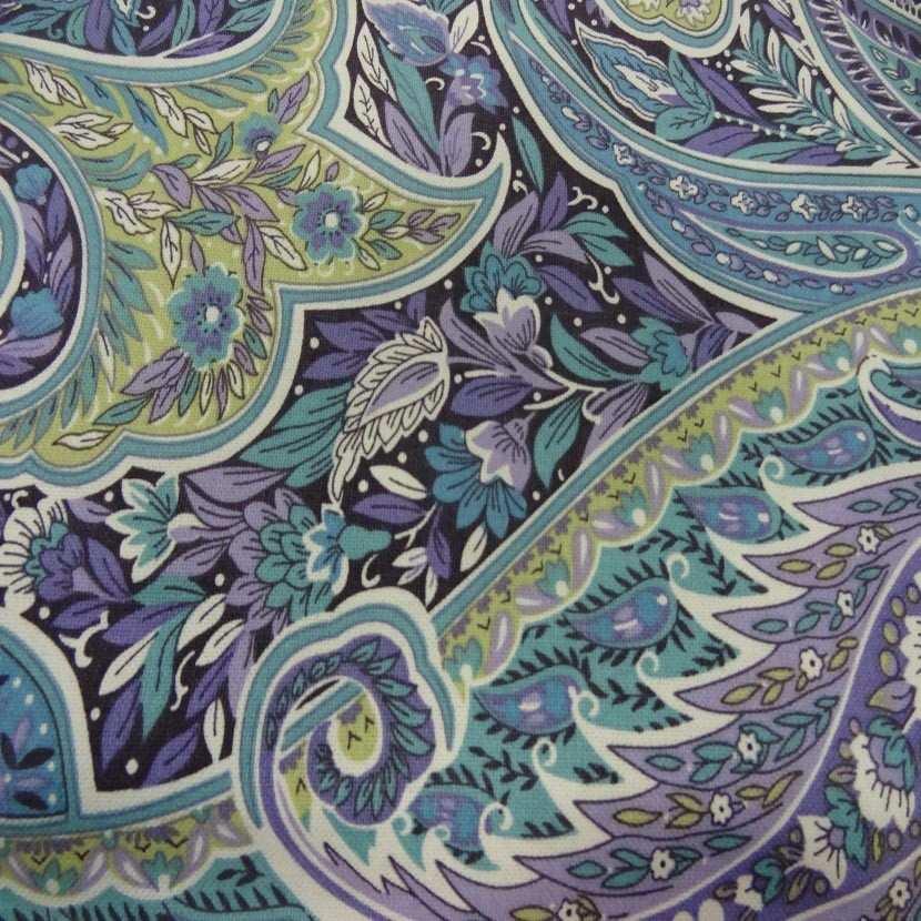 Toile coton imprime motifs cash mir ton mauve bleu anis1