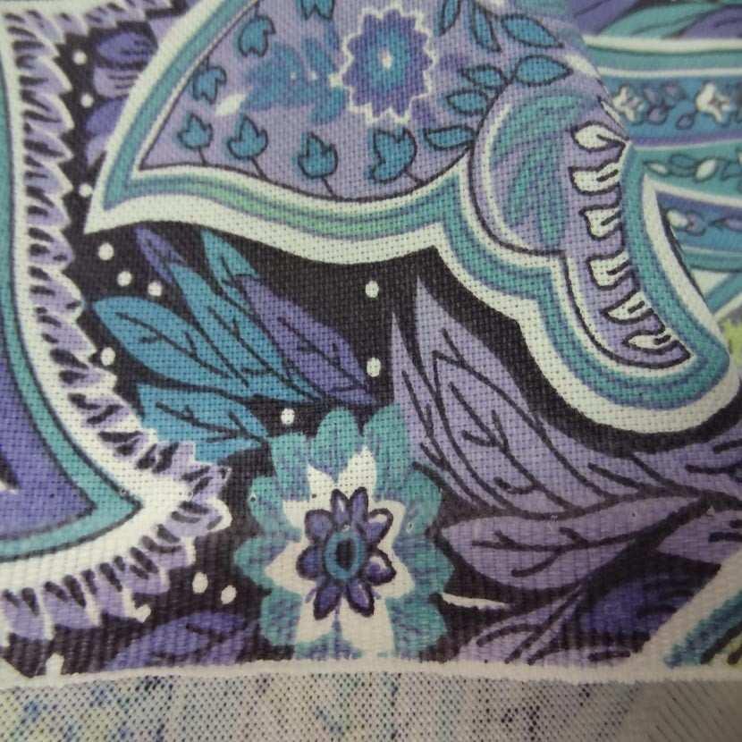 Toile coton imprime motifs cash mir ton mauve bleu anis2