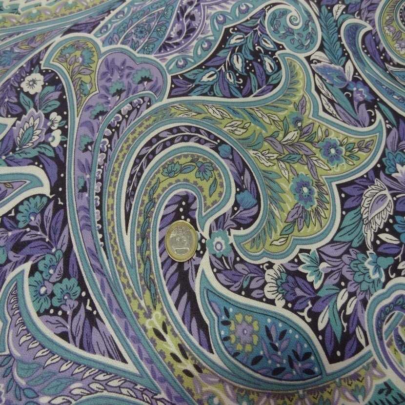 Toile coton imprime motifs cash mir ton mauve bleu anis3