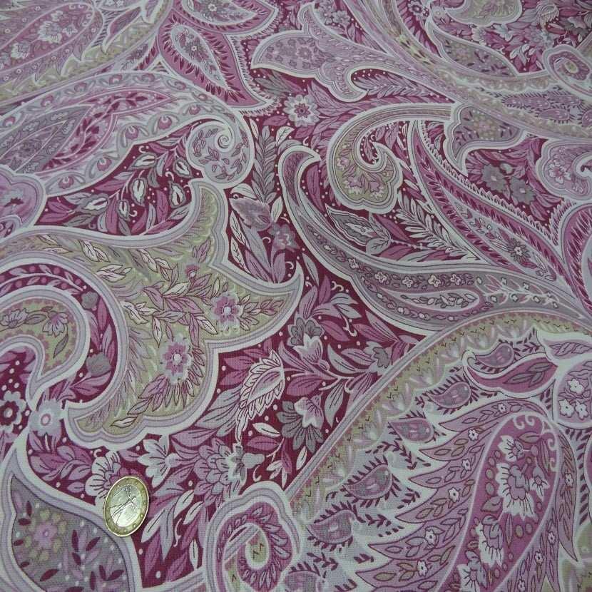Toile coton imprime motifs cash mir ton rose5