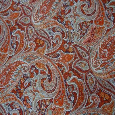 Toile coton imprime motifs cash mir ton rouge orange
