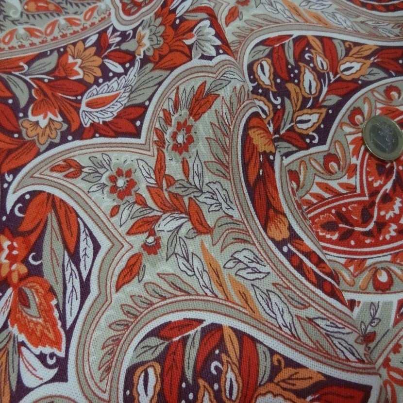 Toile coton imprime motifs cash mir ton rouge orange0