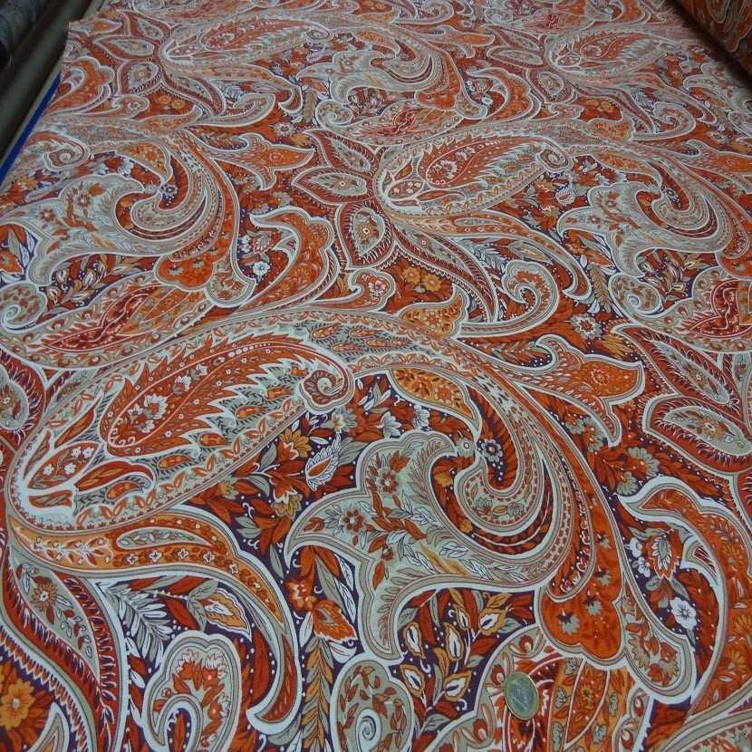 Toile coton imprime motifs cash mir ton rouge orange5
