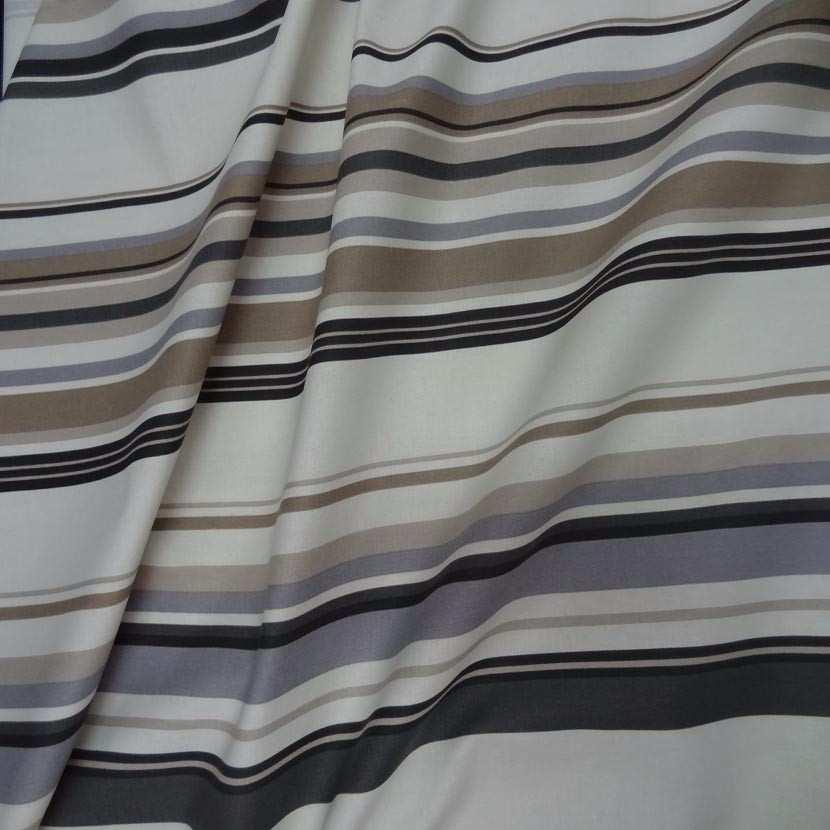 Toile coton imprime rayures gris beige noir0