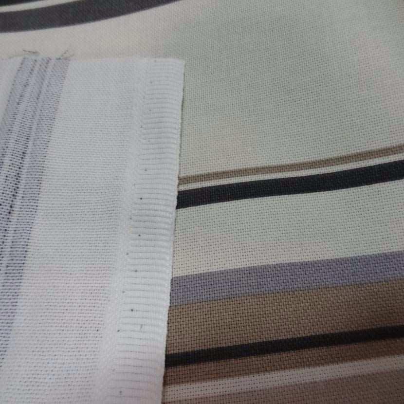 Toile coton imprime rayures gris beige noir1