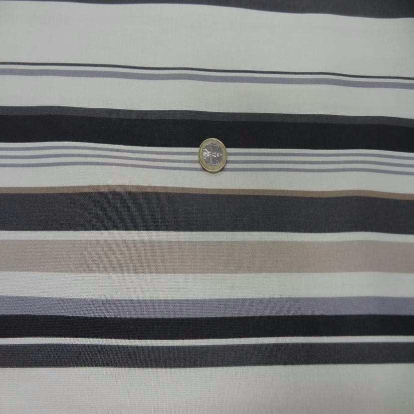 Toile coton imprime rayures gris beige noir2