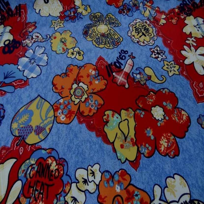 Toile coton imprime ton rouge bleu