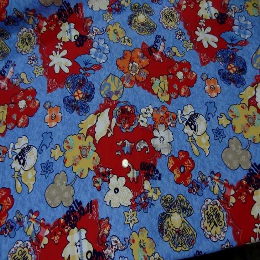 Toile coton imprime ton rouge bleu06