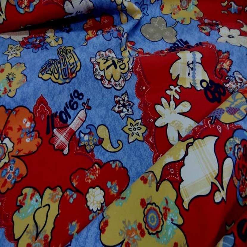 Toile coton imprime ton rouge bleu6