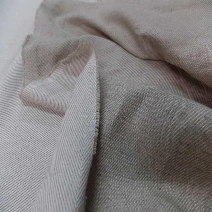 Toile de lin tisse serge ton blanc casse naturel1