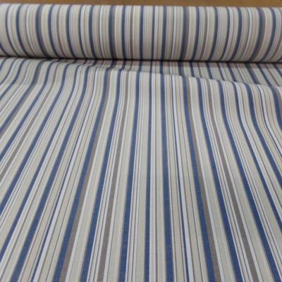 Toile de store bache d exterieur en teflon a rayure blanc beige bleu et taupe