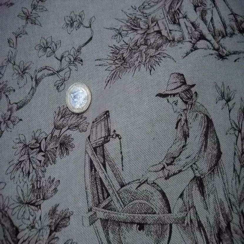 Toile lin ton naturel imprime toile de jouy marron01