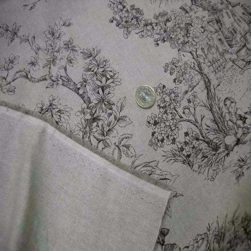 Toile lin ton naturel imprime toile de jouy marron1