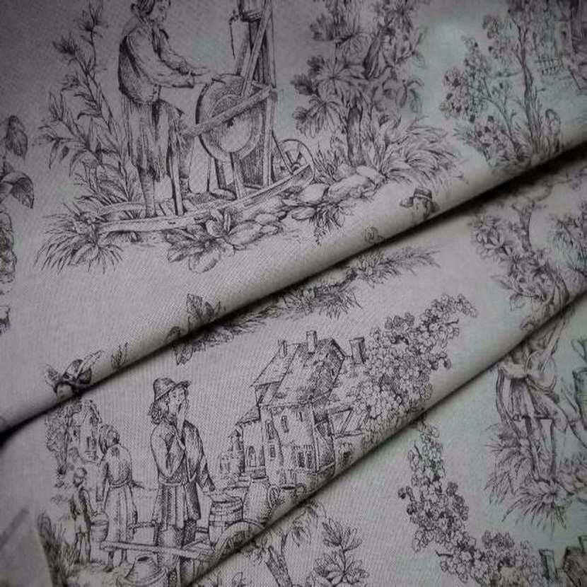 Toile lin ton naturel imprime toile de jouy marron2